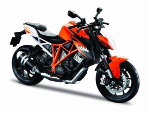 Maisto motorka 1:12 na  podstavci -  KTM 1290 Super Duke R  oranžová