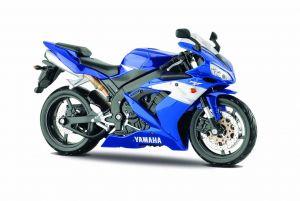 Maisto motorka 1:12 na  podstavci -  Yamaha YZF-R1  modrá