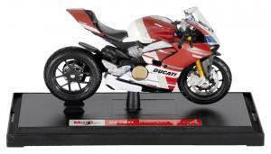Maisto  motorka na stojánku se zn. DUCATI - Ducati  Panigale V4 S Corse 1:18 - červeno bílá