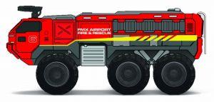 Maisto - Quarry Monsters - Letištní záchranářský vůz  20 cm - červená  barva