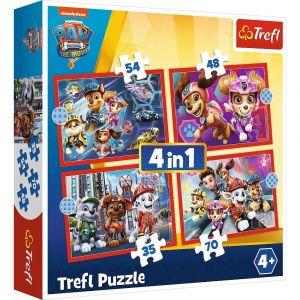 Trefl Puzzle 4v1 Paw Patrol - Tlapková patrola  ve městě  35 48 54 70 dílků 34374
