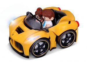 Bburago -  autíčko Ferrari Arpetta se 2 figurkami, zvukem a světelnými efekty  15 cm - žluté