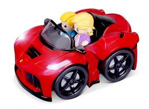 Bburago -  autíčko Ferrari Arpetta se 2 figurkami, zvukem a světelnými efekty  15 cm - červené