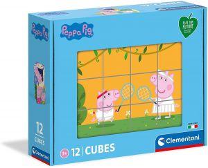 Clementoni - Obrázkové kostky ( kubus )  Play For Future  12  kostek -  Prasátko Peppa