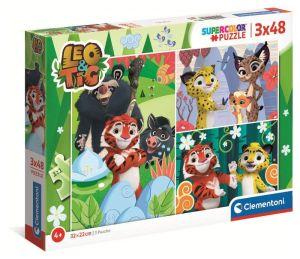 Dětské puzzle Clementoni  - 3 x 48 dílků  -  Leo & Tig  25270