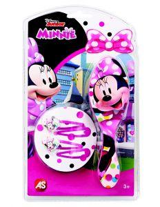 Hřeben - kartáč na vlasy + sada sponek  - fialové   - Minnie Mouse