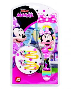 Hřeben - kartáč na vlasy + sada sponek  - žluté  - Minnie Mouse