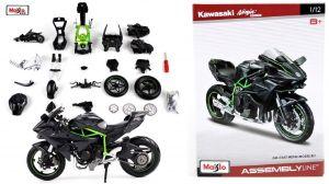 Maisto motorka 1:12 Kit - Kawasaki Ninja H2R -  černo zelená