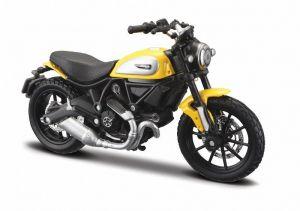 Maisto  motorka na stojánku se zn. DUCATI - Ducati  Scrambler  ICON 1:18 - žlutá