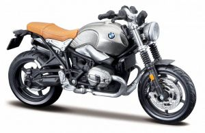 Maisto  motorka na stojánku se zn.BMW - BMW R Nine  T Sclambler   1:18  stříbrná