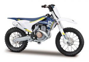 Maisto  motorka na stojánku se zn.HUSQVARNA - Husqvarna   FC 450 1:18  modrá