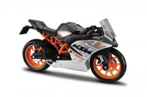 Maisto  motorka na stojánku se zn.KTM - KTM RC 390  1:18  černo bílo oranžová