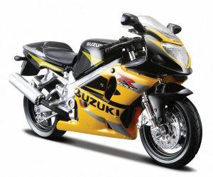 Maisto  motorka na stojánku se zn.SUZUKI - Suzuki  GSX R600 1:18  žlutá