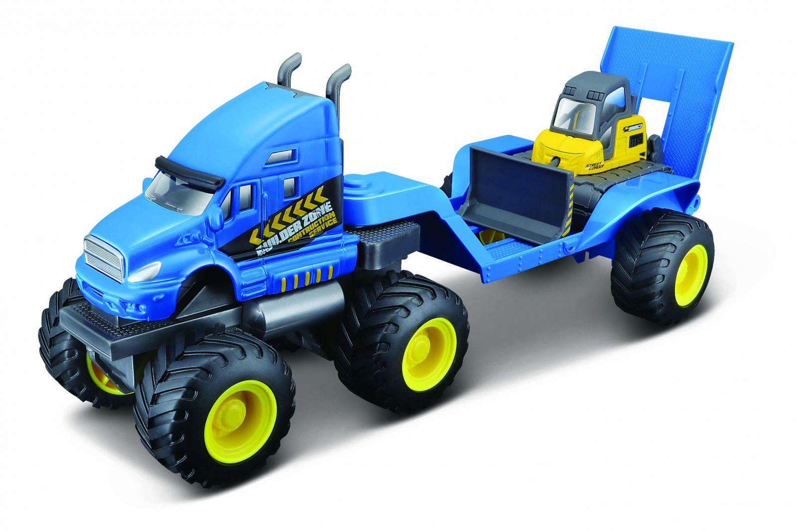 Maisto - tahač s buldozerem na velkých kolech - modrý