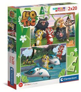 Puzzle Clementoni  2x20 dílků  -  Leo & Tig  24785