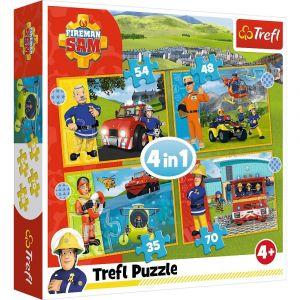 Trefl Puzzle 34387 - Požárník Sam   4v1 35 48 54 70 dílků