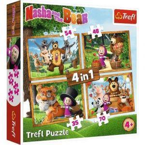 Trefl Puzzle 34388 - Máša a Medvěd - v lese  4v1 35 48 54 70 dílků