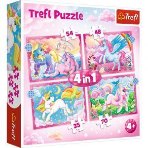 Trefl Puzzle 34389 - Jednorožci   4v1 35 48 54 70 dílků