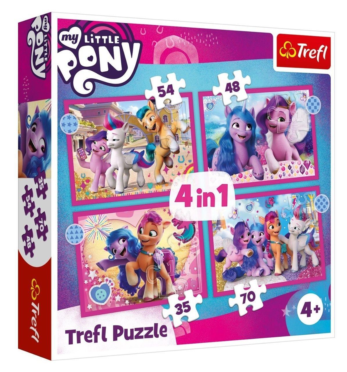 Trefl Puzzle 34389 - My Little Pony 4v1 35 48 54 70 dílků