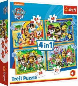 Trefl Puzzle 34395 - Paw Patrol - Tlapková patrola    4v1 35 48 54 70 dílků