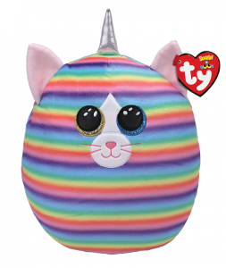 TY - plyšový polštářek - zvířátko  22 cm - kočka Heather  s rohem   39289