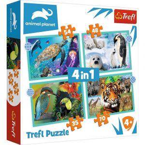 Trefl Puzzle 34382 -  Amimals - svět zvířat     4v1 35 48 54 70 dílků