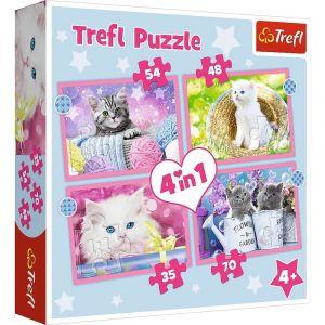 Trefl Puzzle 34396 - kočičky   4v1 35 48 54 70 dílků