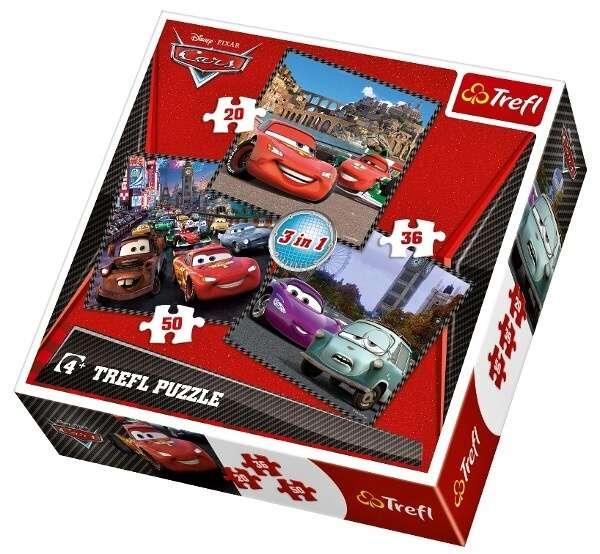 20, 36 a 50 dílků CARS 2 - auta - puzzle Trefl 34105