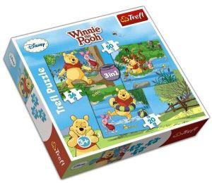 20 , 36 a 50  dílků - Medvídek Pú   -  puzzle   Trefl 3v1 .