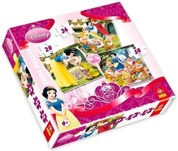 20 , 36 a 50 dílků - Sněhurka a 7 trpaslíků - puzzle Trefl 34038