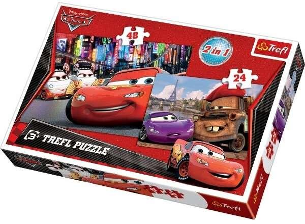 24 a 48 dílků CARS - auta - puzzle Trefl 2v1 34102