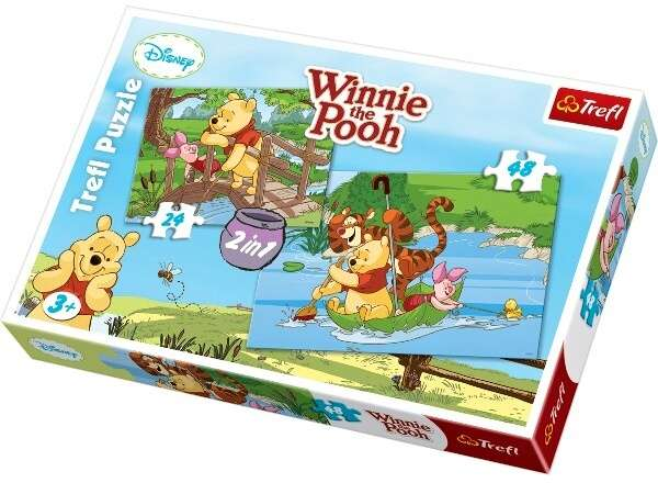 24 a 48 dílků Medvídek Pú - puzzle Trefl 2v1 34104