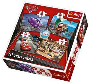 35, 48, 54 a 70  dílků -  4v1  CARS 2 - auta    -  puzzle   Trefl .
