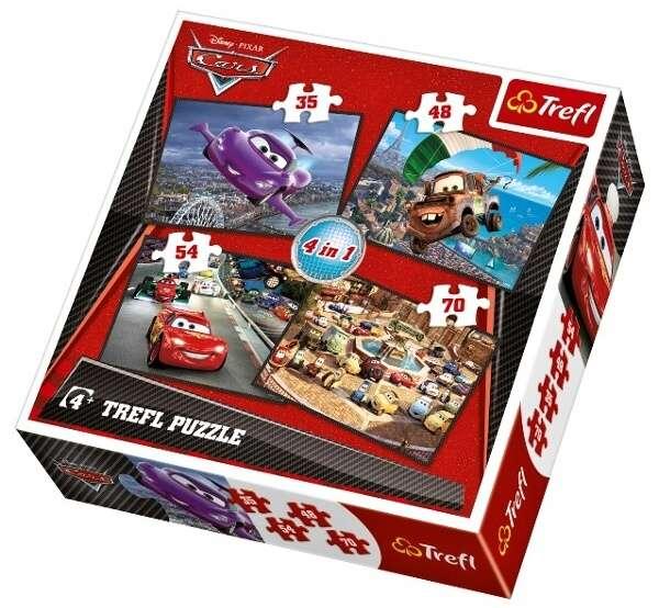 35, 48, 54 a 70 dílků - 4v1 CARS 2 - auta - puzzle Trefl 34107