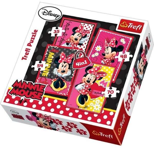 35, 48, 54 a 70 dílků - 4v1 Minnie Mouse - puzzle Trefl 34119