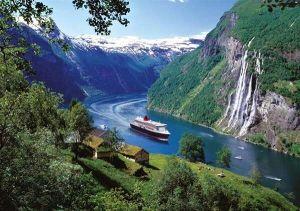 1000 dílků - Norské fjordy - vodopád sedm sester - puzzle Ravensburger 158041