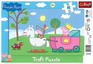 15 dílků Prasátko Peppa - rytíř - puzzle v rámečku ( rámkové ) puzzle Trefl 31152
