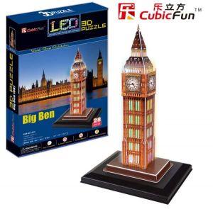 3 D Puzzle CubicFun - Big Ben  28 d. LED   - svítící