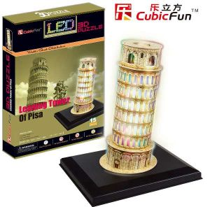 3 D Puzzle CubicFun - šikmá věž v Pise 15 d. LED   - svítící