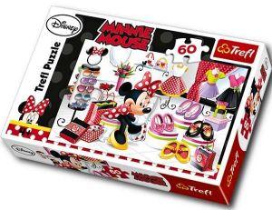 Trefl puzzle - 60 dílků - Minnie Mouse - nákupní šílenství   17225