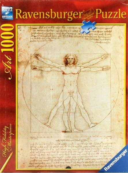 puzzle Ravensburger 1000 dílků - Da Vinci : Schéma člověka - 152506